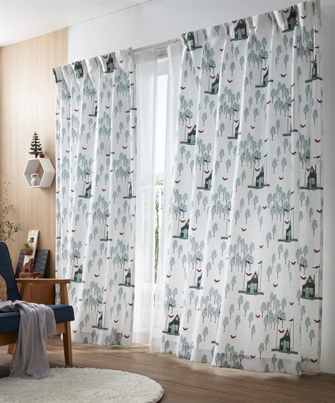 【送料無料!】北欧調。森とキツネカーテン 遮光なしカーテン...