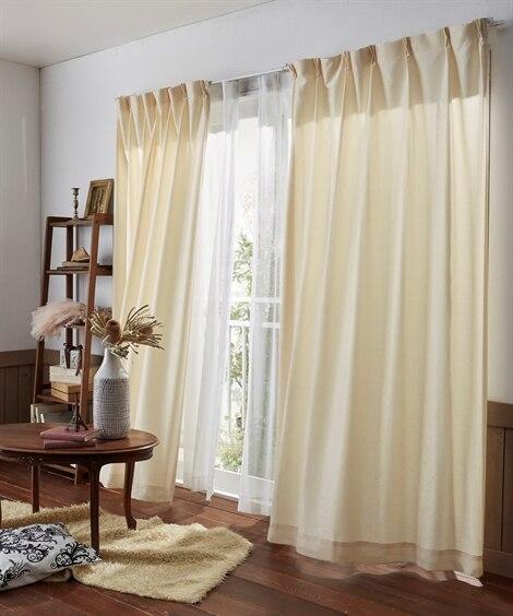【送料無料!】繊細ラインのリーフ柄カーテン 遮光なしカーテン