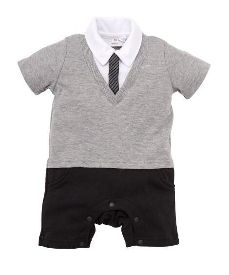 Vネック重ね着風 フォーマル半袖カバーオール(男の子 子供服...