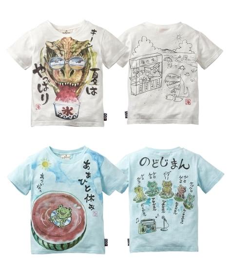 綿100%夏のほっこり和柄前後プリント半袖Tシャツ2枚組(男...