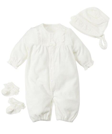 ベロア セレモニー長袖ドレス3点セット(ツーウェイオール+帽...