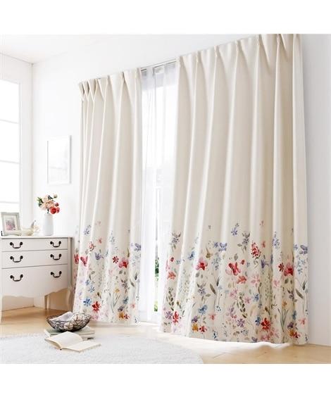 【送料無料!】光沢のある生地が華やかな小花絵羽柄遮光カーテン ドレープカーテン(遮光あり・なし)の写真