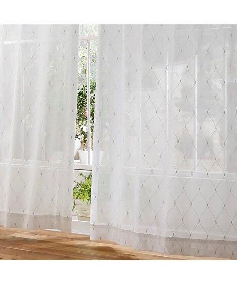 【送料無料!】洗練された大人フェミニンなダイヤ柄レースカーテン レースカーテン・ボイルカーテンの商品画像