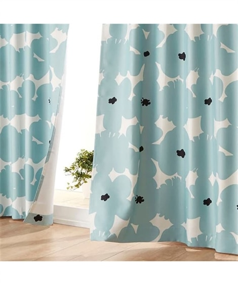 【送料無料!】センス良く映える北欧調フラワー柄遮光カーテン ...