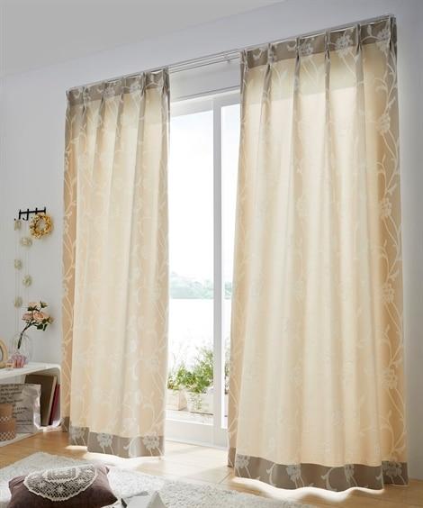 【送料無料!】落ち着きのあるフラワー柄カーテン ドレープカーテン(遮光あり・なし)の写真