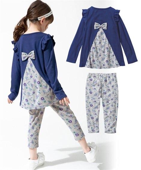 2点セット(AラインチュニックTシャツ+7分丈レギンス)(女の子 子供服。ジュニア服) (トップス・チュニック)Kids' Tops