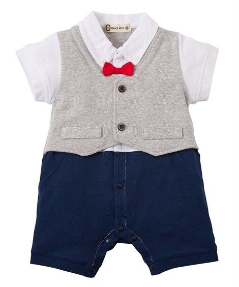 セレモニー ベスト重ね着風半袖カバーオール(男の子 子供服。ベビー服) 【ベビー服】Babywear