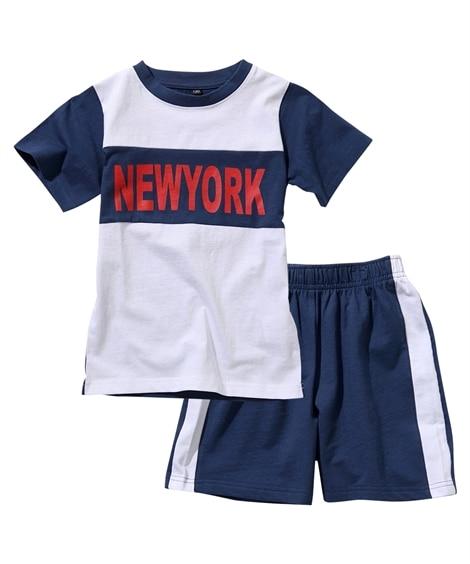 綿100% ロゴプリントTシャツ+ハーフパンツセットアップ(男の子 子供服) キッズパジャマ, Kids' Pajamas