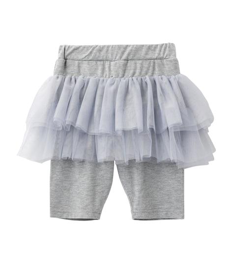 2段チュールパンツインスカート。5分丈スカッツ(女の子 子供服) (スカート付パンツ) Girls Skirts