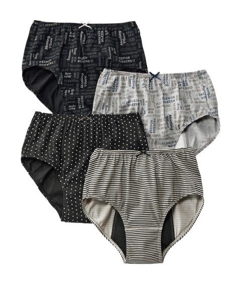 綿100%プリント深ばきサニタリーショーツ4枚組(羽付ナプキン対応)(昼用:M) サニタリー(生理用ショーツ)Panties