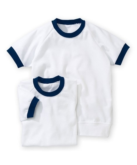 【ゆったりサイズ】衿。袖口配色。半袖 体操服シャツ2枚組 体...