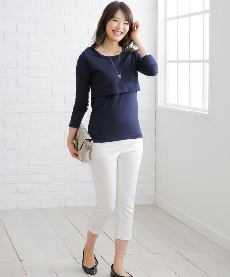【授乳服。産後】長袖Tシャツ (マタニティウエア・授乳服)...