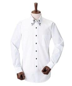 <ニッセン> 2枚衿風ドゥエボタンダウンデザイン長袖ワイシャツ (ワイシャツ)Shirts