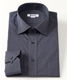 <ニッセン> 形態安定 綿混ダークトーンデザイン長袖ビジネスカジュアルシャツ (ワイシャツ)Shirts
