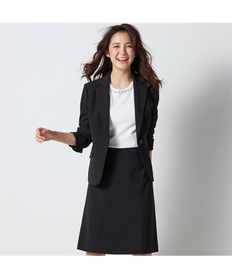 <ニッセン> 防汚加工◎すごく伸びる裏地無セミフレアスカートスーツ (大きいサイズレディース)スーツwomen's suits plus size