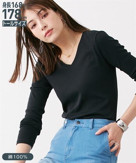 トールサイズ 綿100%VネックTシャツ 【高身長・長身】Tシャツ・カットソー, tall size, T-shirts,
