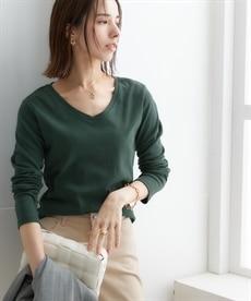 <ニッセン> UVカット綿100%フライス素材Vネック長袖Tシャツ (Tシャツ・カットソー)(レディース)T-shirts