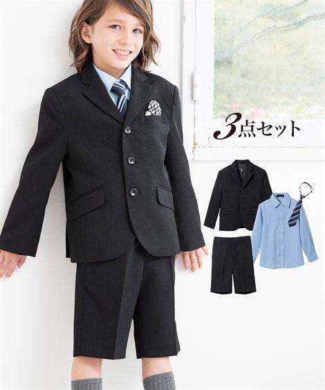 b4aef15741e8d - 卒園式・入学式 フォーマルスーツ3点セット(ジャケット+シャツ+5分丈パンツ)(男の子 子供服). サイズ:110 - 140